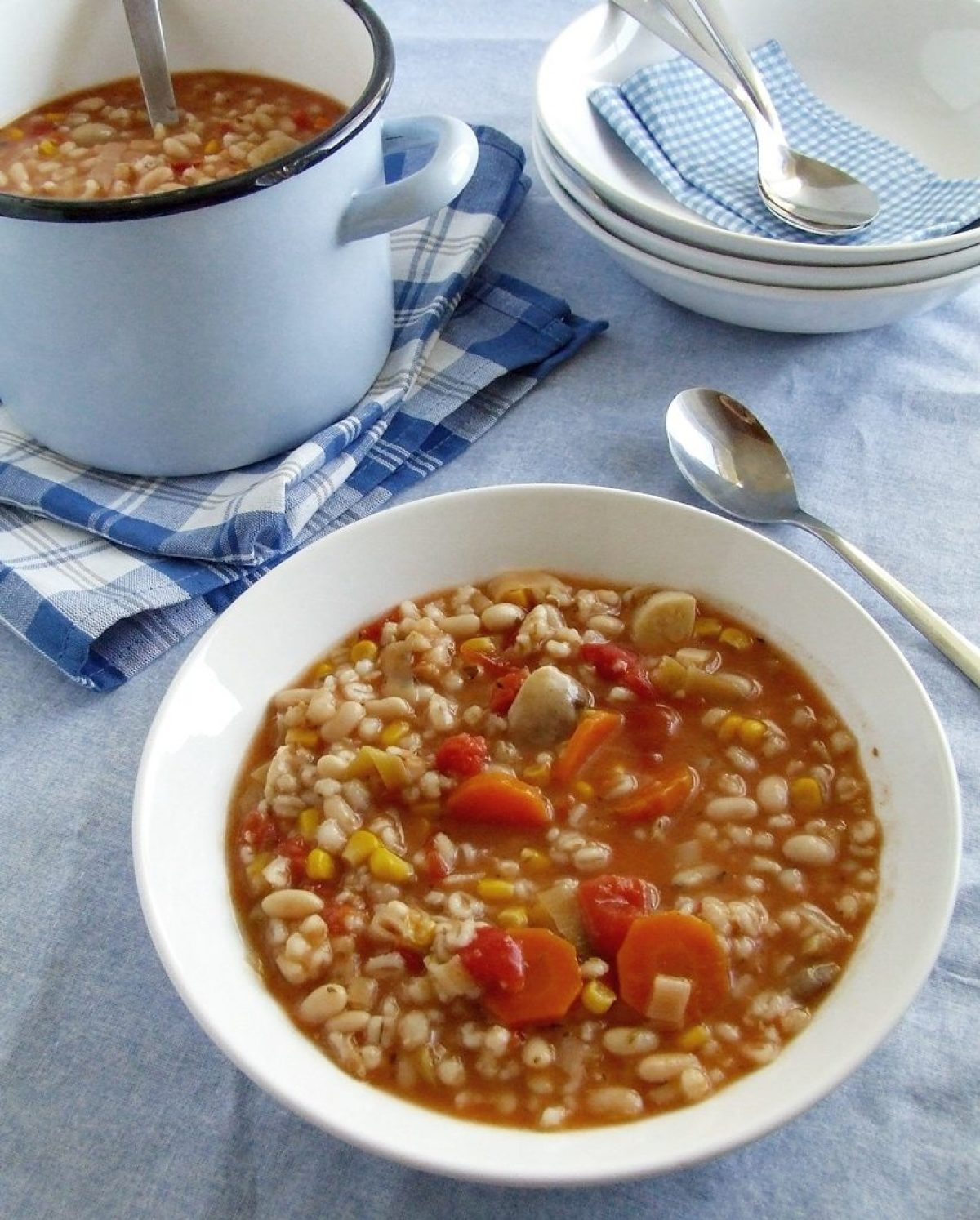 Zawiesista i pożywna zupa z kaszą i jarzynami