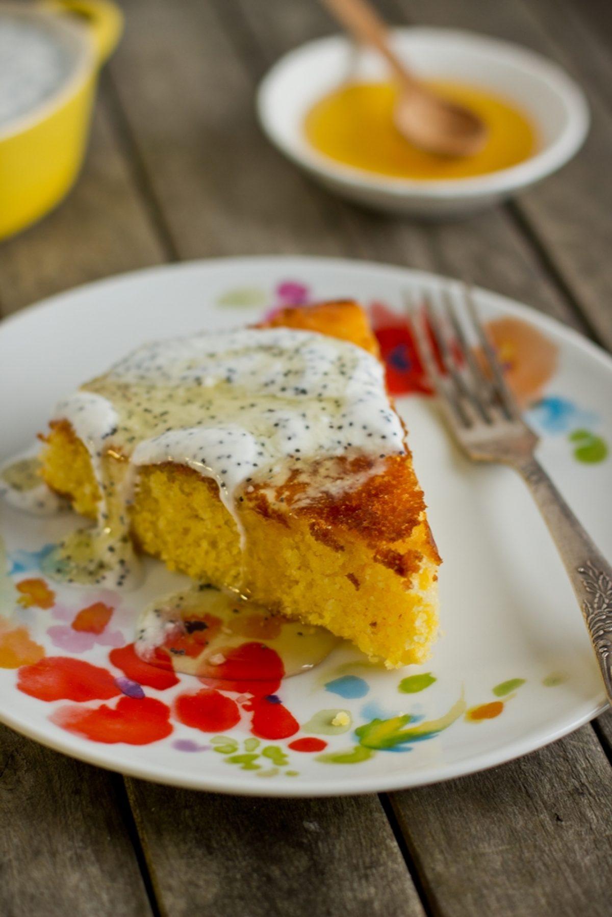 Ciasto cytrynowe z kaszką kukurydzianą (polentą) bezglutenowe i bez cukru