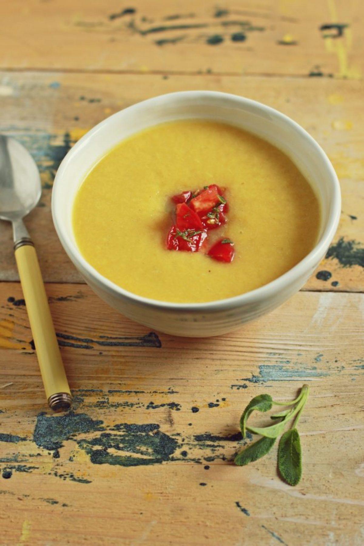 Krem z papryki i brzoskwiń z soczewicą (wegański, bez glutenu i laktozy)